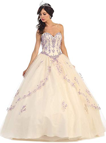 a583d04a02 May Queen - LK61 Bedazzled Sweetheart Quinceanera Ball Gown Champagne
