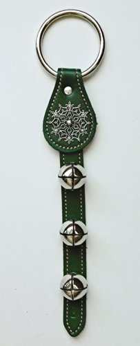 Sleigh Bells - Green Leather Bell Strap w/ Snowflake Charm & Nickel Plated Bells - Jingle (Plated Snowflake Charm)