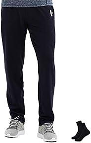 LIFINAIS Men's Gym Running Sweatpants with Pockets Stretch Elastic-Waist Drawstring Track P