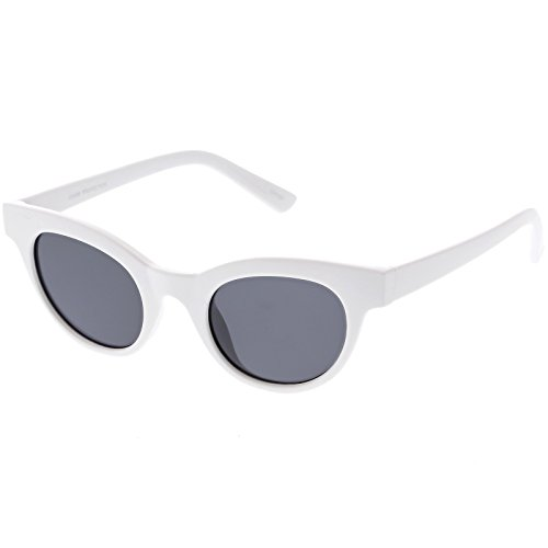 sunglassLA - Women's Horn Rimmed Cat Eye Sunglasses Neutral Colored Round Lens Cat Eye Sunglasses 47mm (1 - Shiny - White Sunglasses Rimmed