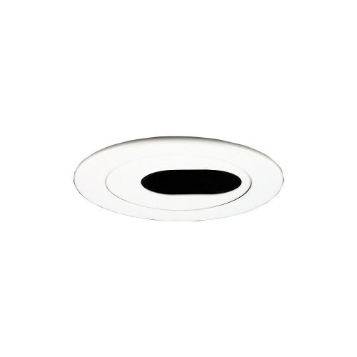 Jesco Lighting TM403WH 4-Inch Aperture Low Voltage Trim Recessed Light, Adjustable 2-Piece Oval Slot Aperture, White (Slot Aperture Recessed Light Trim)