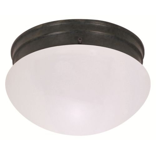 Light 2 Mahogany - Nuvo Lighting 60/2643 Two Light Medium Mushroom Flush Mount Ceiling Fixture with Frosted Glass Shade