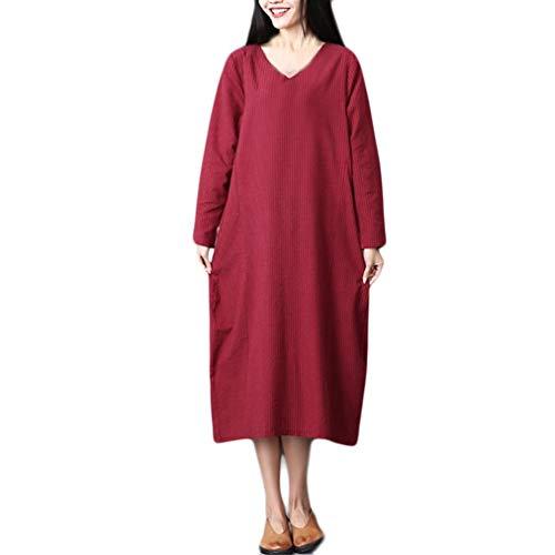 HYIRI Sleeves Loose Long Dress,Women Plus Size Pure Color Cotton Linen Long -