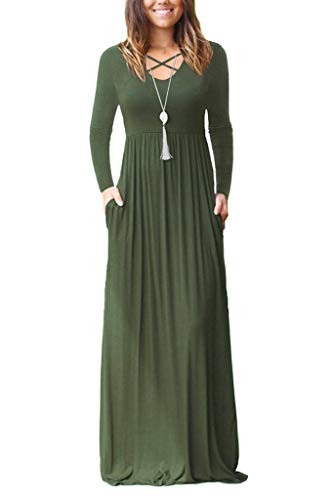 Women's Long Sleeve Maxi Dresses with Pockets Criss Cross Plain Loose Long Dresses Army Green Small