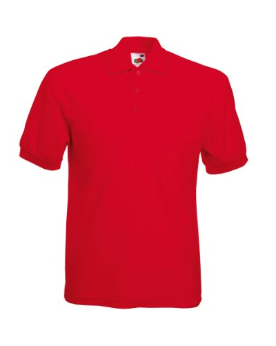 Fruit of the Loom Pique Polo Shirt SIZE XL COLOUR Red