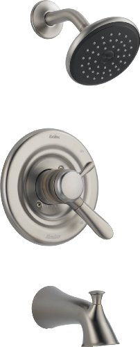 Single Delta Lahara Handle (Delta 174938-SS Lahara Monitor 17 Series Tub and Shower Trim, Stainless)