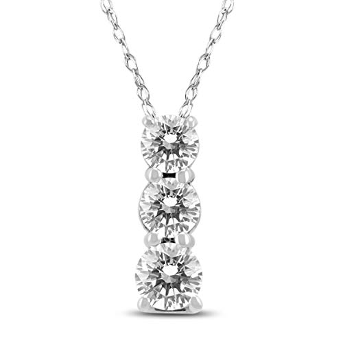 AGS Certified 1/2 Carat TW Three Stone Diamond Pendant in 14K White Gold