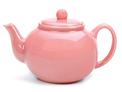 RSVP International Large Stoneware 6-Cup Teapot, Pink,Microwave and dishwasher safe