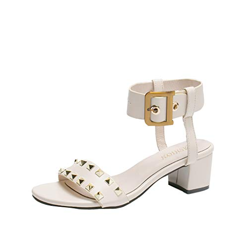 Yucode Women Bold Studded Sandal Fashion Adjustable Buckles Ankle Strap One Band Open Toe Mid Heels Summer Shoes Beige