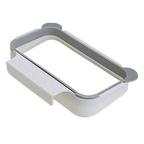 ❤SU&YU❤Hanging Garbage Bag Holder Kitchen Cupboard Stand Trash Storage Rack (Gray)