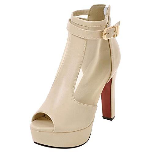 Moda Sandals COOLCEPT Tacco Beige Alto Piattaforma Donna wII5qr