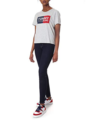 logo Tommy con donna grigio shirt T Jeans wHAnF1cWqx