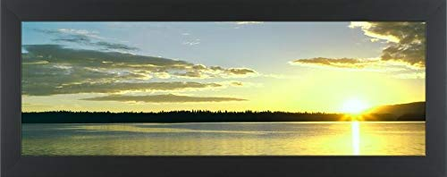 Easy Art Prints Panoramic Images's 'Sunrise Over a Lake, Jenny Lake, Grand Teton National Park, Teton County, Wyoming, USA' Premium Framed Canvas Art - 36
