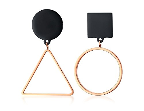 Two-tone Black Rose Gold Stainless Steel Irregular Geometry Triangle Round Statement Large Earrings for women