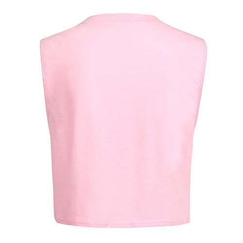 iZHH Shirt for Women Crop Top Sleeveless Racerback Workout Gym Solid Shirt Yoga Athletic Tank Pink by iZHH (Image #4)