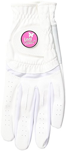 Lady Classic Womens Soft Flex Gloves with Magnetic Ball Marker, Left Hand, White, Large