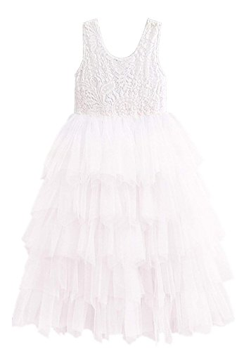 Price comparison product image 2Bunnies Girl Baby Girl Victorian Lace Tiered Tutu Princess Pageant Party Dress (White Sleeveless Maxi, 24M/2T)