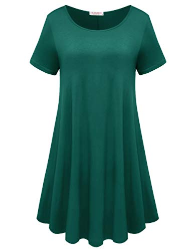 (BELAROI Womens Comfy Swing Tunic Short Sleeve Solid T-Shirt Dress (L, Dark)
