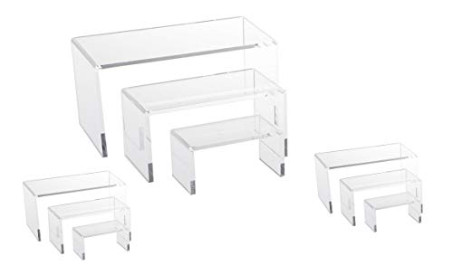 9 Piece Set - Clear Acrylic Display Risers, Acrylic Clear Riser Set