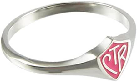LDS Womens 0.925 Sterling Silver Pink Mini CTR Choose the Right Ring for Girls - LDS Rings, Womens CTR Rings, Girls CTR Rings