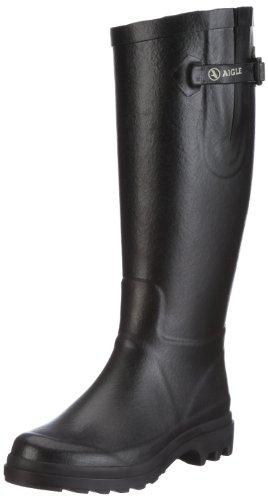 Aigle Aiglentine Gummistiefel, Damen Langschaft Gummistiefel, Schwarz (noir 9), 40 EU