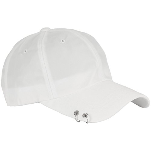 RaOn B160 Punk Silver Ring Piercing Rock Cotton Basic Ball Cap Baseball Hat Truckers (White)