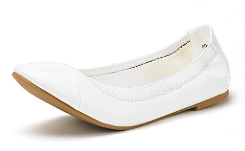 DREAM PAIRS Women's Sole-Flex White Ballerina Walking Flats Shoes - 8 M -