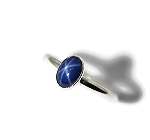 Pink Star Sapphire Ring - Oval Created Blue Star Sapphire Sterling Silver Ring