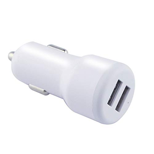 Idyandyans Mini Portable 2.1A Dual USB Car Charger Cigarette Lighter Car Charger for GPS Mobile Phone MP3 PDA Bluetooth Headset White ()