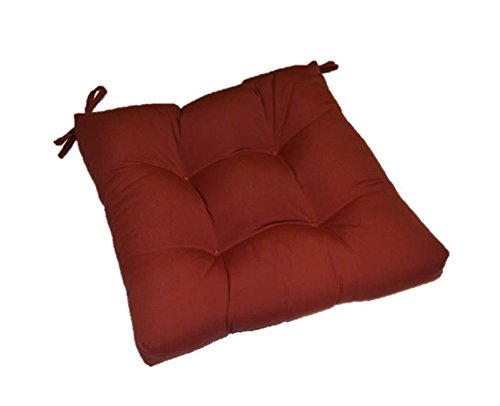 Resort Spa Home Decor Sunbrella Canvas Indoor Outdoor Solid Burgundy Universal Tufted Seat Cushion with Ties for Dining Patio Chair – Choose Size 20 x 18
