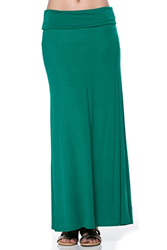 Azules Women'S Rayon Span Regular to Plus Size Maxi Skirt - Forrest Green S ()