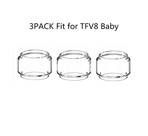 DEKPRO 5PCS Bulb Tube for TFV8 Baby Glass Replacement Tanks Clear Rainbow (Clear-3Pack)