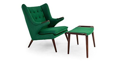 Kardiel Wegner Style Papa Bear Wing Chair & Ottoman, Wheat Grass Cashmere Wool, Walnut Legs 31LFJXfFwDL