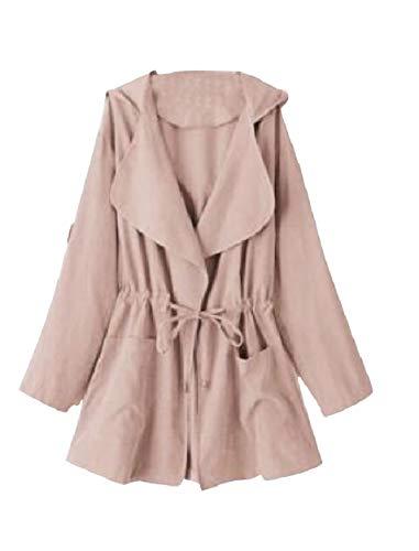 Howme-Women Anorak Outdoor Back Cotton Lapel Neck Overcoat Trenchcoat Pink