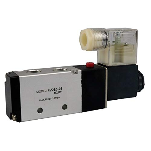 BestTong Pneumatic 4V210-08 Air Control Solenoid Valve AC110V 5 Way 2 Position PT1/4 Internally Piloted Acting Type Single Electrical Control