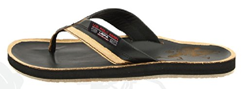 U.S. Polo Assn. Mens Premium Distressed Leatherette Sandals Flip Flop Thong Midnight 07XKa