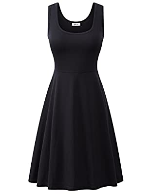 Herou Summer Spring Sleeveless Casual Flared Tank Dresses for Women