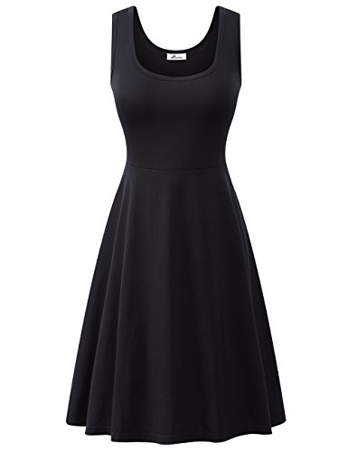 Herou Women Summer Beach Cotton Casual Dress (Black, Medium)