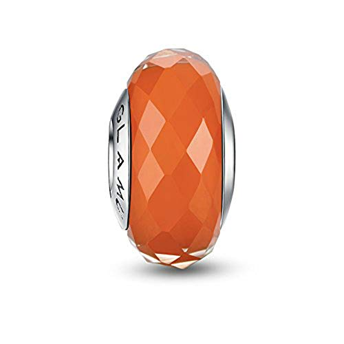 - Glamulet Art - Orange Rhombic Facets Murano Glass Beads Charm -- 925 Sterling Silver