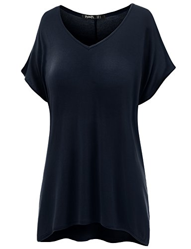 TWINTH Plus Size Tunic V-Neck Loose Fit Shorts Sleeve T-Shirt Top Navy 3XL