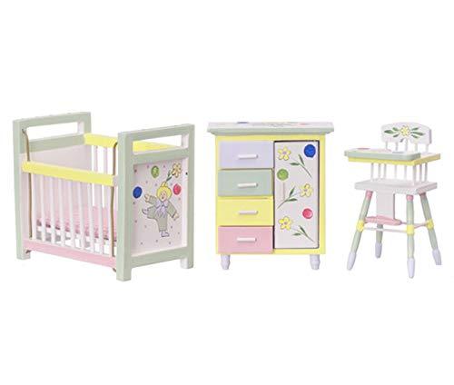 Dollhouse Miniature Hand Painted Nursery Furniture Set by Town Square - Nursery Hand Furniture Painted