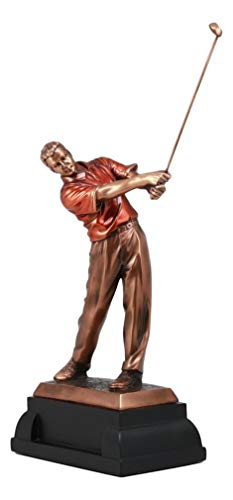 Ky & Co YK Recreational Golfer Swinging Club at Driving Range Bronze Electroplated Figurine