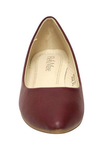 Bella Marie Womens Klassische Spitzen Zehen Ballett Slip On Flats-Shoes Wein