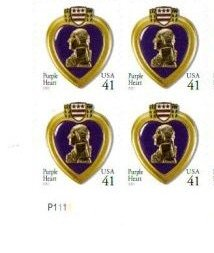 Medal Heart Military (2007 PURPLE HEART MEDAL ~ COMBAT WOUNDED #4164 Plate Block 4 x 41 cents US Postage Stamps)