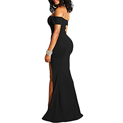 YMDUCH Women's Off Shoulder High Split Long Formal Party Dress Evening Gown: Clothing