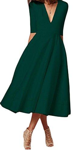 A Del Tunica Verde Colore Donne Scollo Dalla Premio Superiore V Di Puro Manicotto Parte Della Del Profondo Comodi Mezzo zaqw4YC