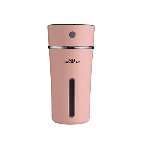 (TechCode Cool Mist Humidifier, 300ml USB Cup Humidifier Night Light Car Humidifiers USB Rechargeable 500mah Battery Portable Mini Bottle Home Air Purifier for Home Office Travel(Pink))