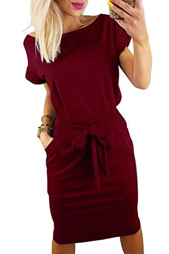 Midi Women Sleeve Short Neck Wine Pencil Belt Dress Round FAFOFA Casual Dress OawUHHq