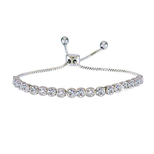 (Landau Jewelry Deluxe Women's Tennis Bracelet – Adjustable Pull Chain Bracelet – Elegant Design – Metallic Finish and Stones – Ideal Birthday, Christmas, Round CZ)