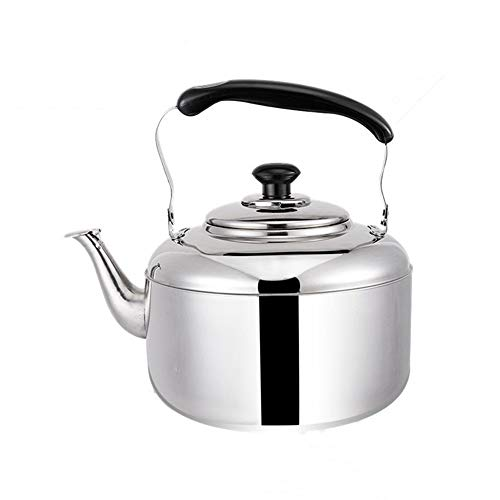 Steel Stove Top Kettle For Gas,Large Capacity Whistling Water Kettle Stainless Steel Water Heater Boiler Tea Pot For Gas Stove Induction Cooker (color : Silver, Size : 6L)
